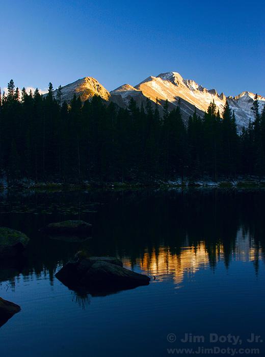 Long's Peak and Nymph Lake at Sunset