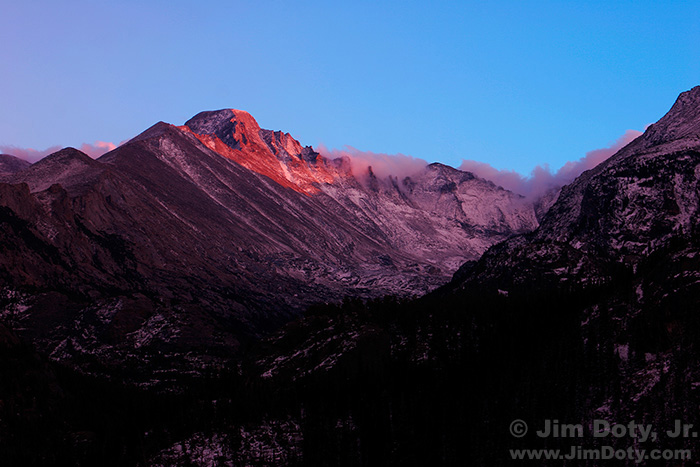 Last Light on Long's Peak and the Keyboard of the Winds
