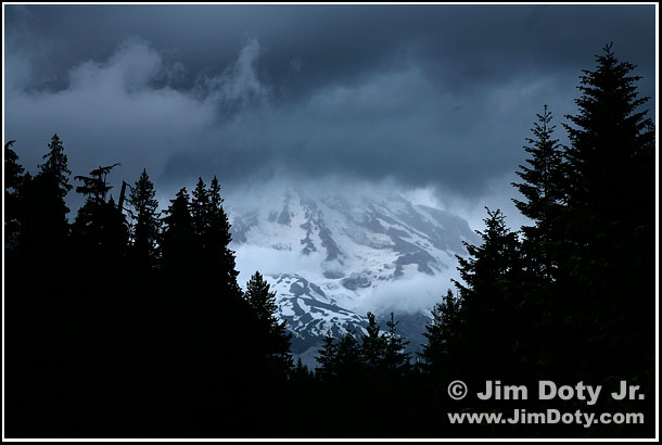 Storm clouds over Mt. Rainier. Photo copyright Jim Doty Jr.