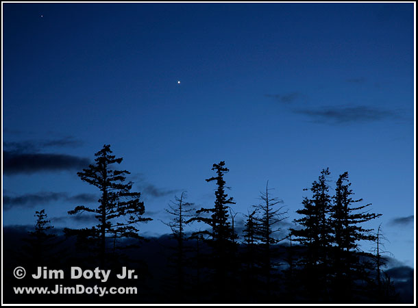 Venus and Saturn at Twilight. Photo copyright Jim Doty Jr.