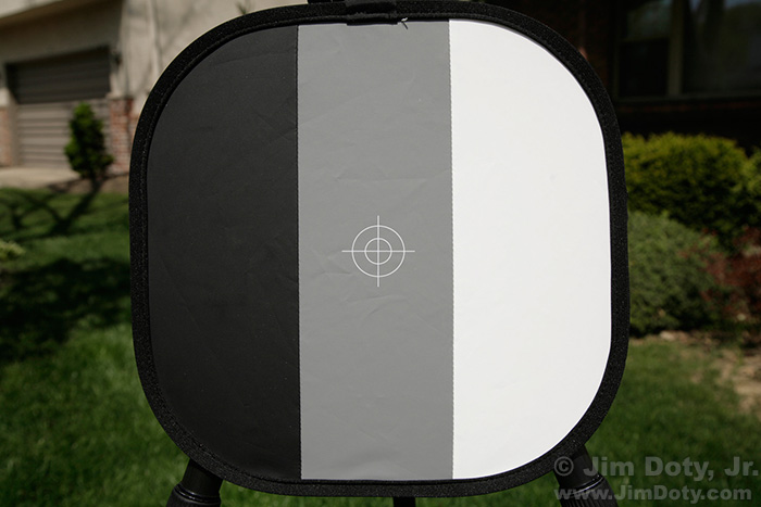 Black, gray, and white calibration target.