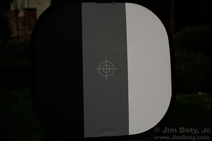 Black, gray, and white calibration target, metered for the white panel.