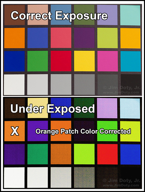 Color checker comparison, correct  exposure and under exposed with the orange patch color corrected.