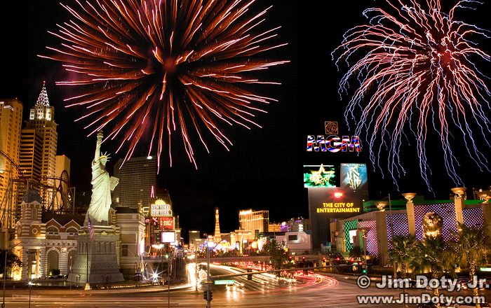 The Strip, Las Vegas with fireworks