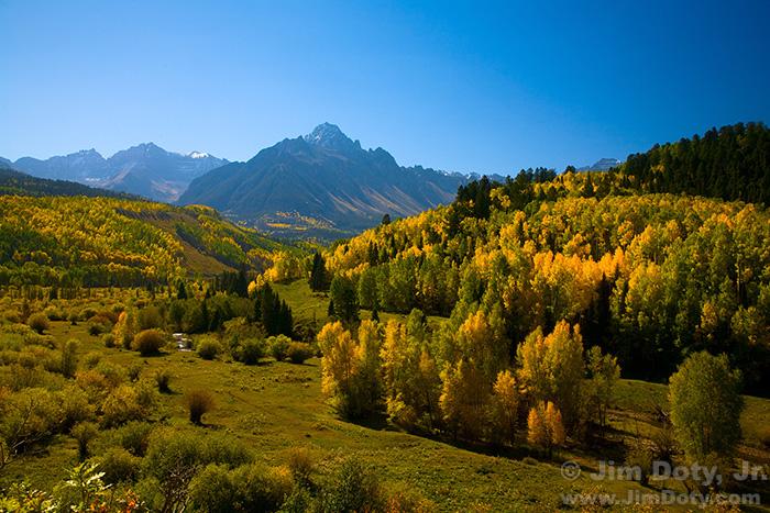 Mt. Sneffels and Sneffels Range from County Road 7 - Dallas Creek Road. Colorado. September 29, 2010.