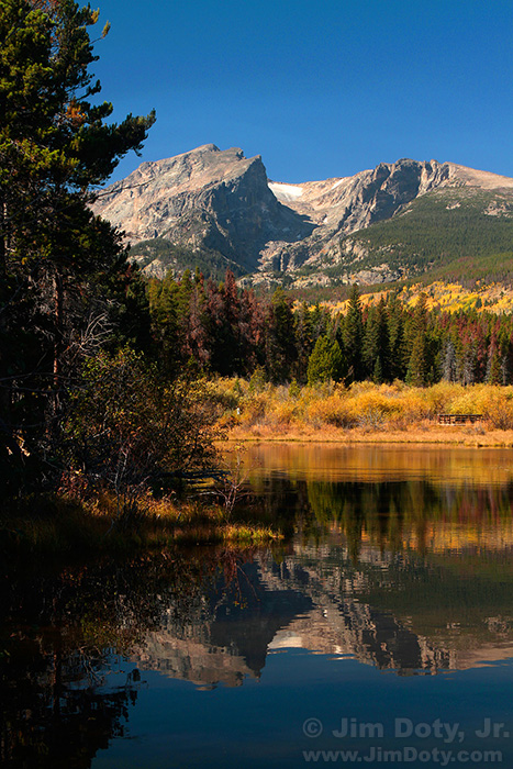 Sprague Lake, Hallett Peak, and Flattop Mountain. Rocky Mountain NAtional Park, Colorado.