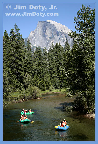 Rafting on the Merced River below Half Dome. Photo by Jim Doty Jr.