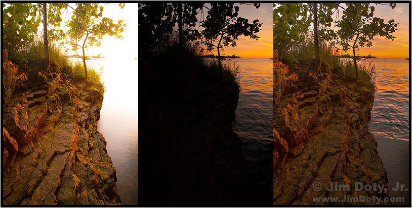 Sunrise, Gibraltar Island. Two images combined to make a third image.