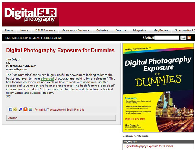 Digital SLR Photography magazine reviews Digital Photography Exposure for