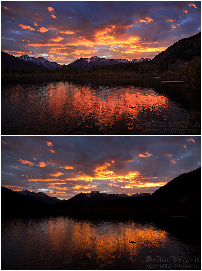 "Vermilion Lakes Sunset, new and old ACR ""process versions""."