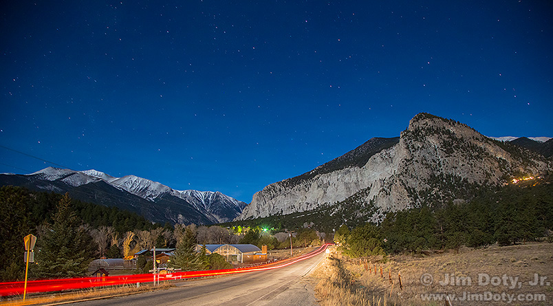 Mt. Antero and Mt. Princeton's Chalk Cliffs in the moonlight.