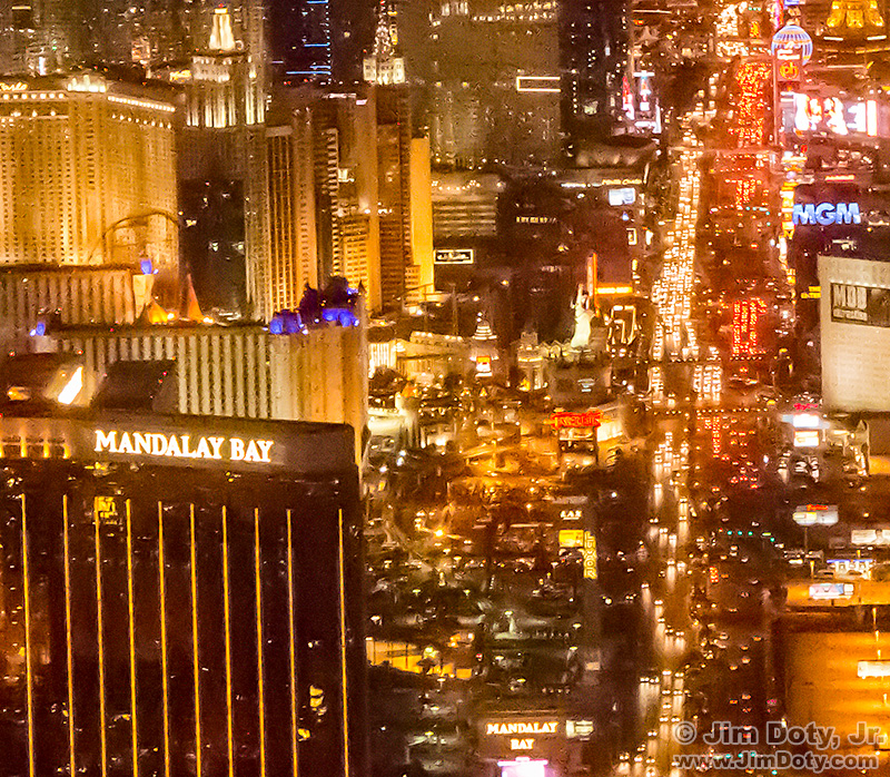 The Las Vegas Strip at night from the air, cropped from the photo above.