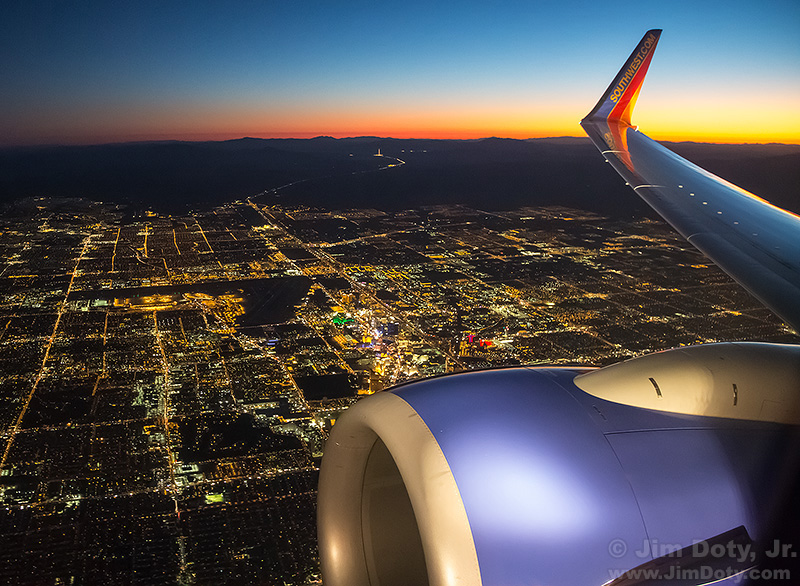 Southwest Jet Over Las Vegas at Dusk