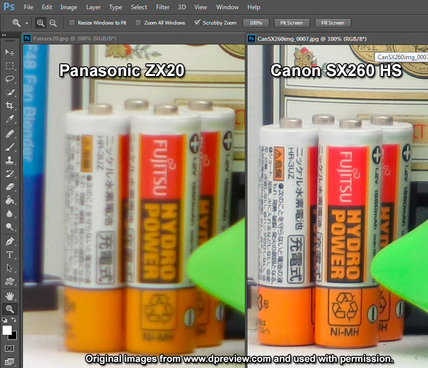 Panasonic Lumix ZX20 (left) vs Canon SX260 HS (right)