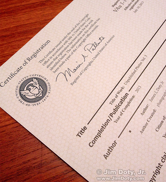 Copyright Certificate of Registration