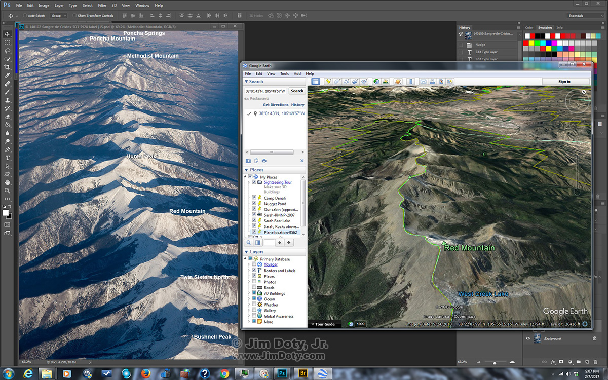 Photo and Google Earth: Northern Sangre de Cristo Mountains and Poncha Springs, Colorado. Click for a larger version.