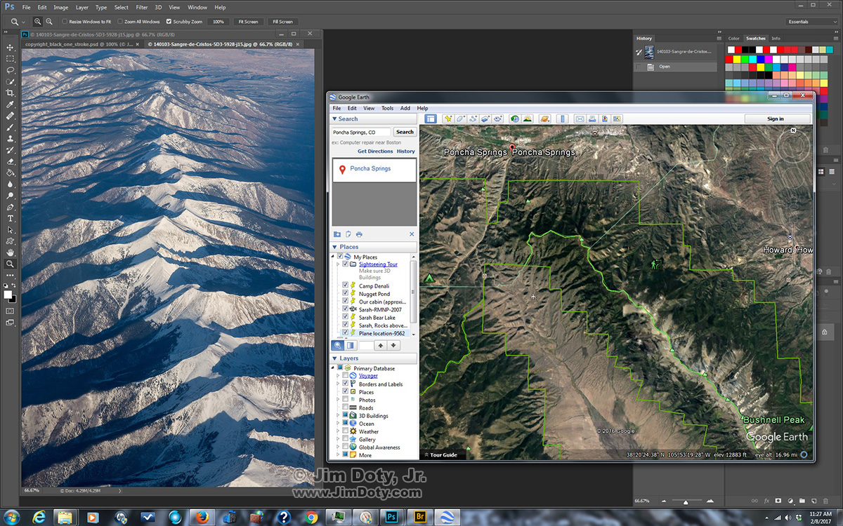 Google Earth: Sangre de Cristo Mountains and Poncha Springs, Colorado. Click for a larger version.