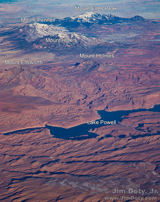 Colorado River, Lake Powell, and nearby mountains.