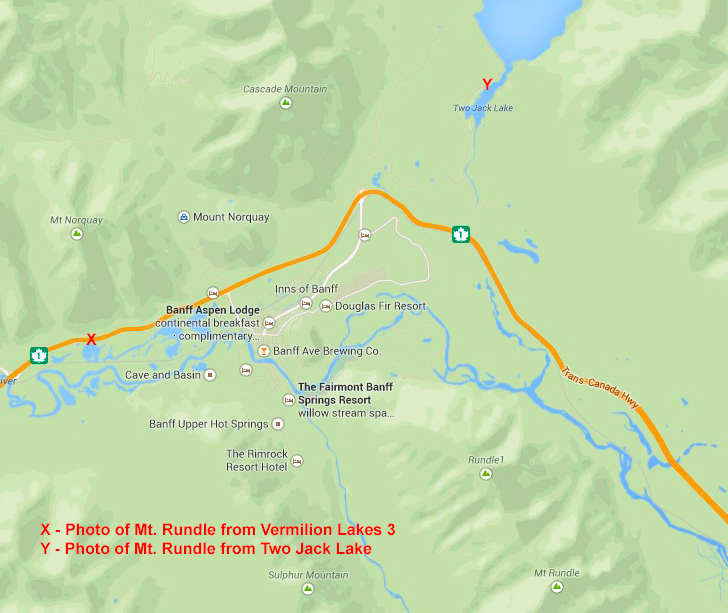 Map, photo locations at Two Jack Lake and Vermilion Lakes 3.