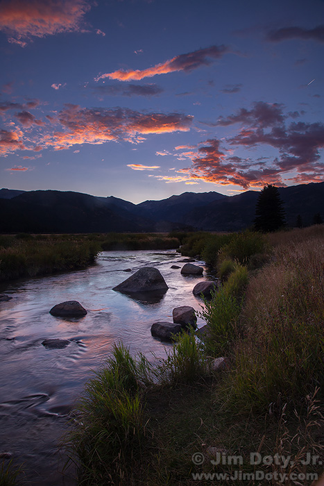Dusk, Big Thompson River, Moraine Park.