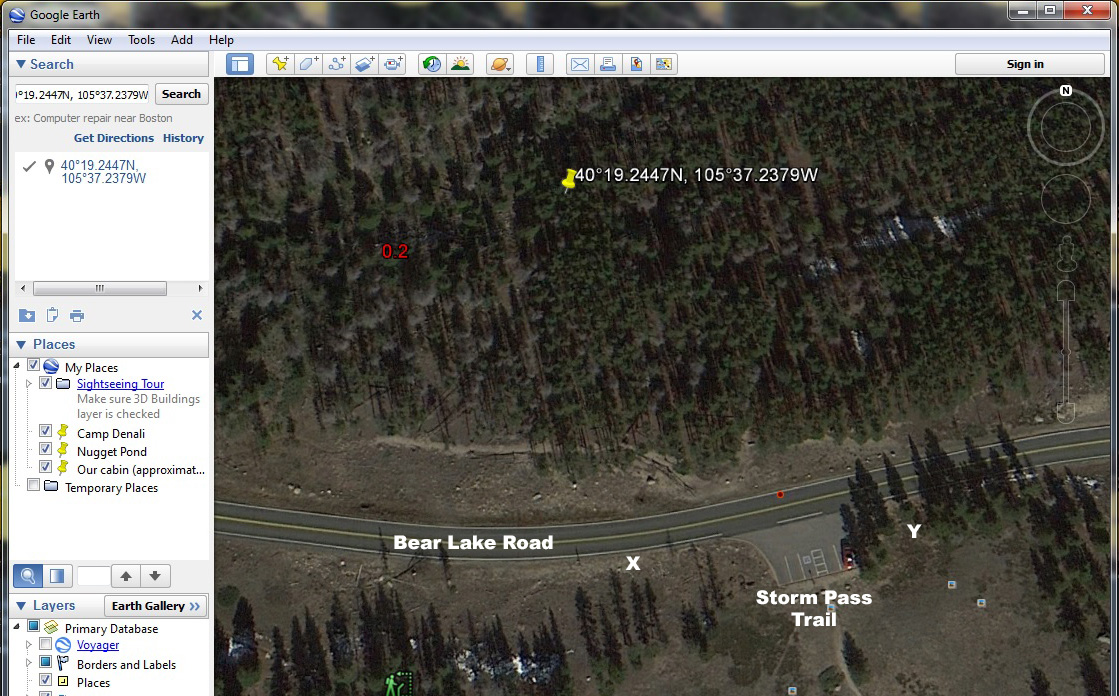 Google Earth. Storm Pass parking lot. Click for a larger view.