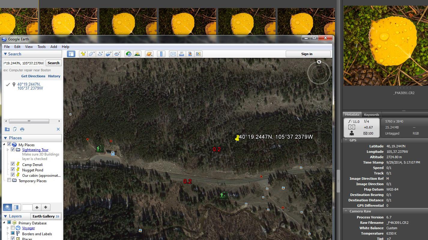 Partial screen capture: Google Earth window over Adobe Bridge
