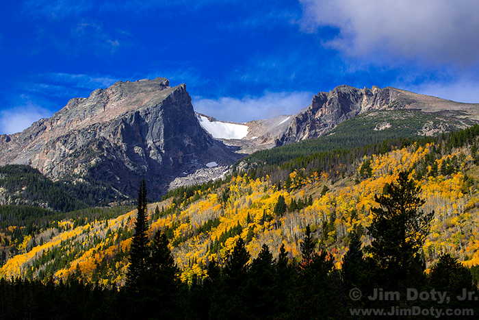 Hallet Peak, Tyndale Glacier, and Flattop Mountain from the Road to Bear Lake. Rocky Mountain National Park, Colorado.