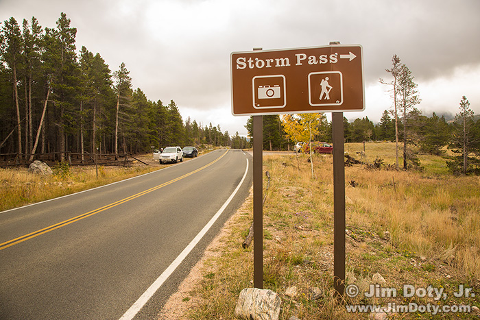 Storm Pass sign and parking lot.