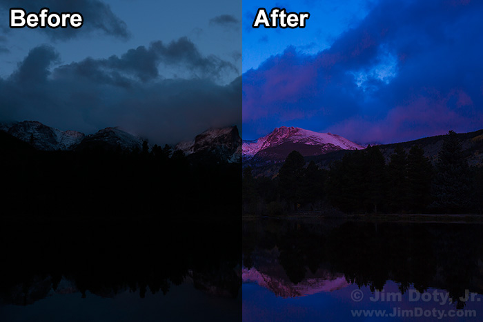 Dawn, Hallett Peak and Flattop Mountain. Before and After ACR.