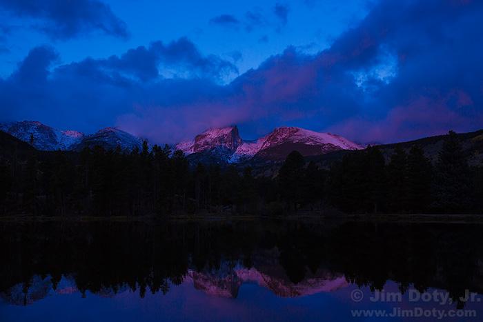 Alpenglow, Hallett Peak and Flattop Mountain from Sprague Lake