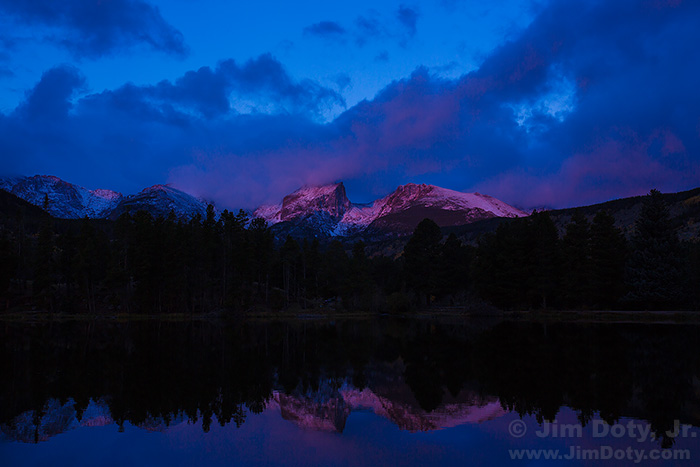 Dawn at Sprague Lake, looking west at Hallett Peak and Flattop Mountain
