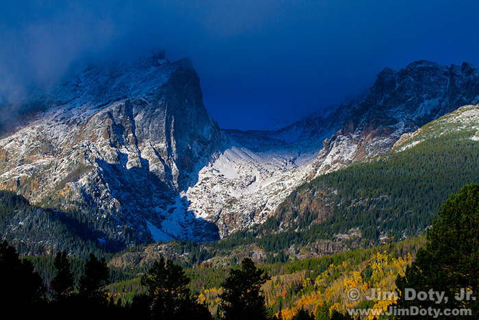 Storm Clouds over Hallet and Flattop from the Storm Pass Trailhead. October 1.