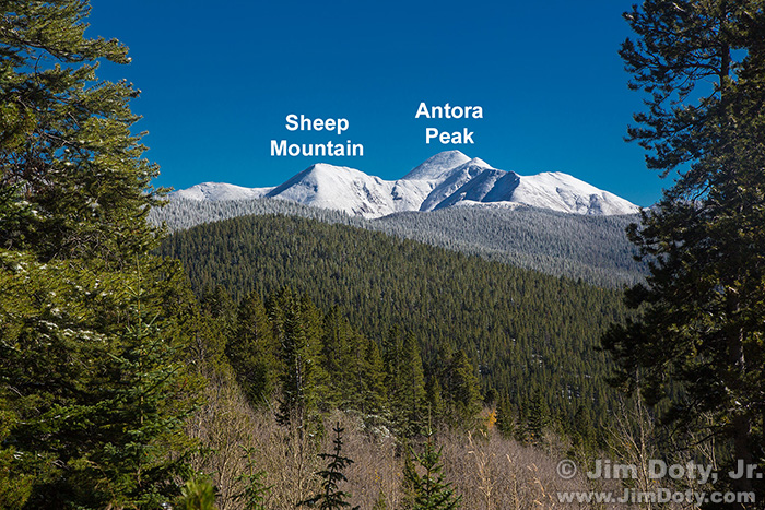 Sheep Mountain, Antora Peak, and Frost Covered Trees from Marshall Pass, Colorado.