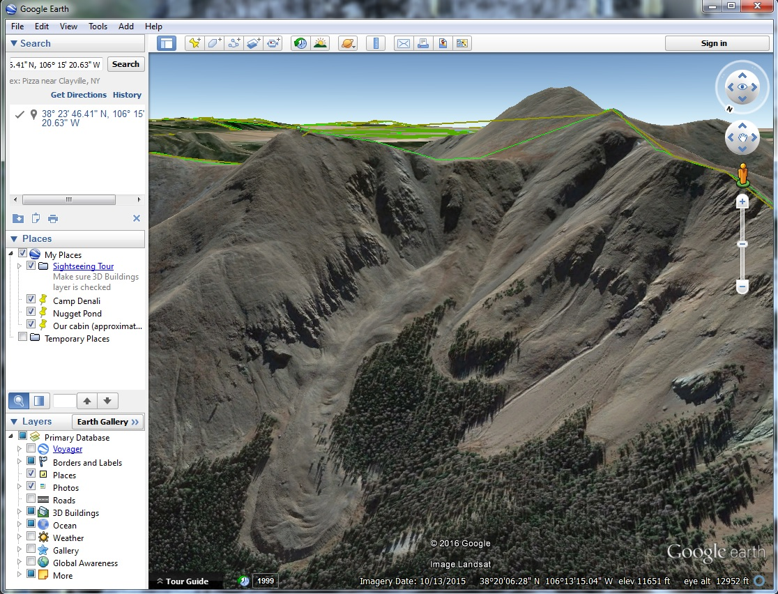 The Google Earth version of the mountain in my photo.
