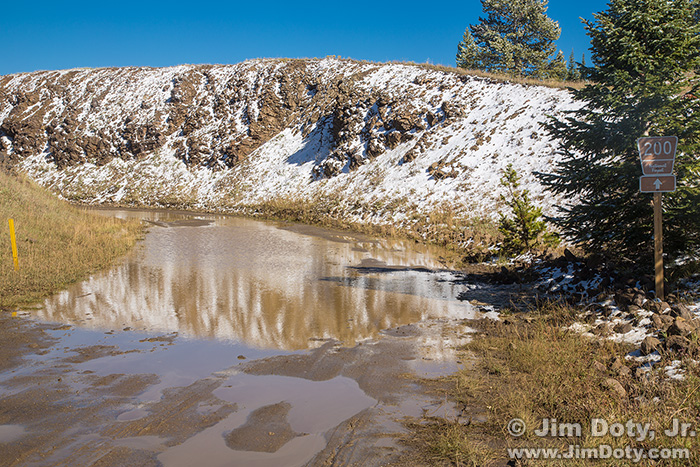Muddy road at the top of Marshall Pass, Colorado. October 2, 2014.