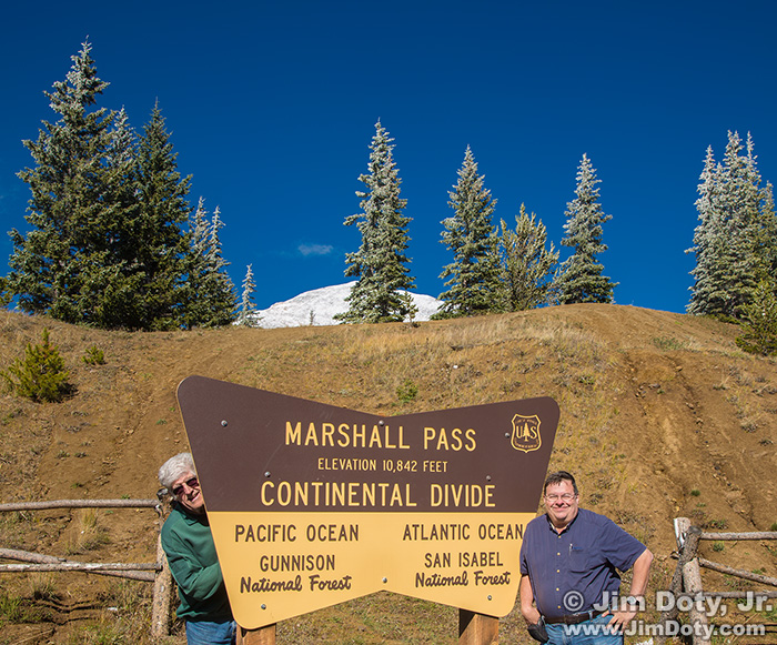 Marshall Pass at the Continental Divide, 10,842 feet. Mt. Ouray in the background.