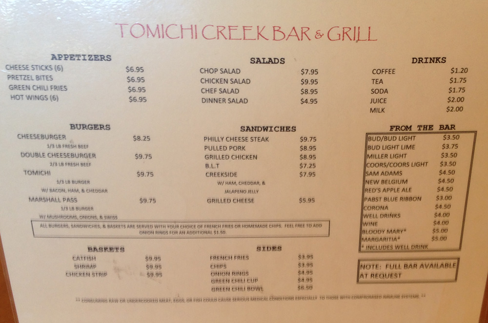 Menu, Tomichi Creek Bar and Grill, Sargents Colorado