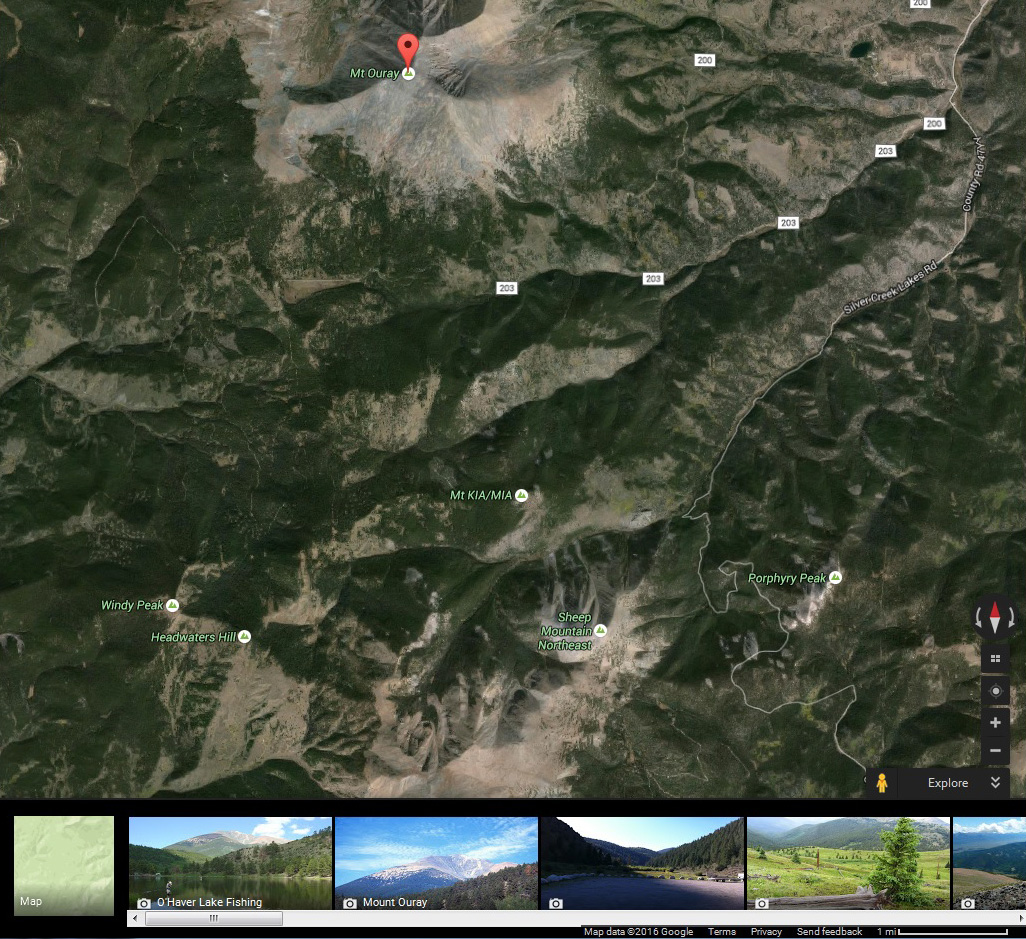Google Maps: Mt. Ouray area.