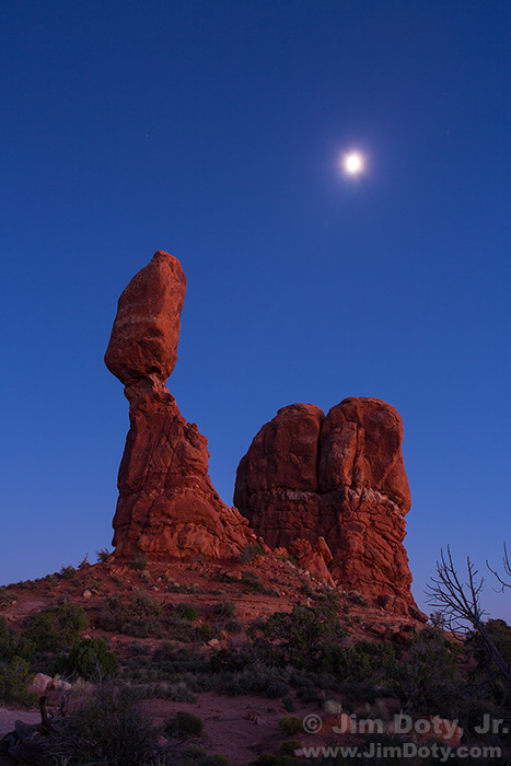 Moon Over Balanced Rock, Arches National Park, Utah.