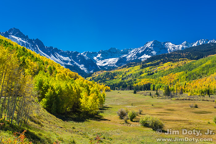 Mt. Sneffels from County Road 7 - Dallas Creek. October 3.