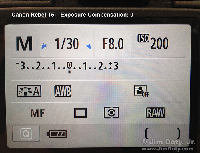 Canon T5i with exposure compensation set to 0.