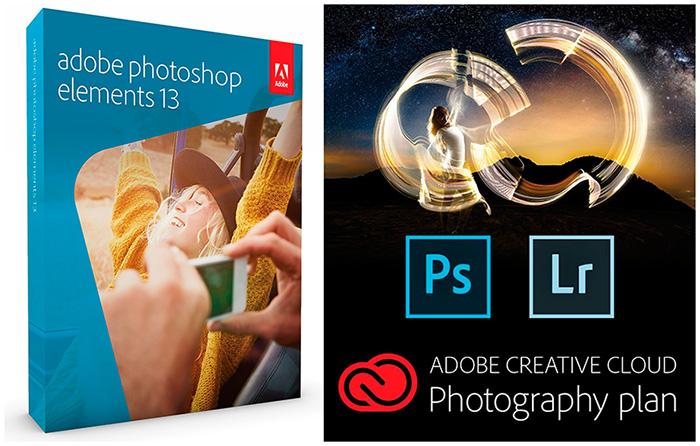 Adobe Photoshop Elements 13, Adobe Photoshop CC, and Lightroom 5