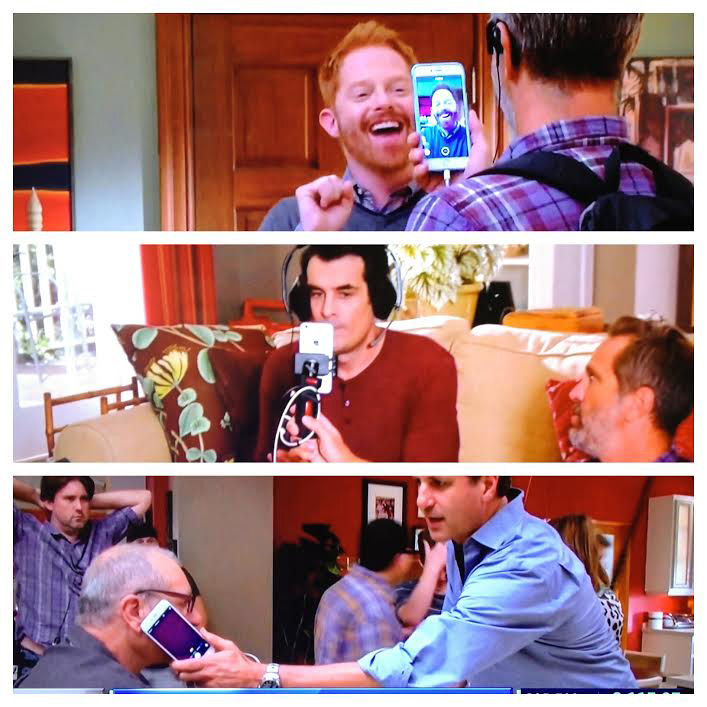 The filming of Modern Family with iPhones and other Apple devices.