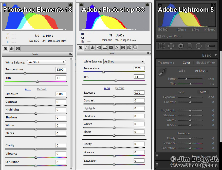 ACR in Photoshop Elements, Adobe Photoshop, and Adobe Lightroom