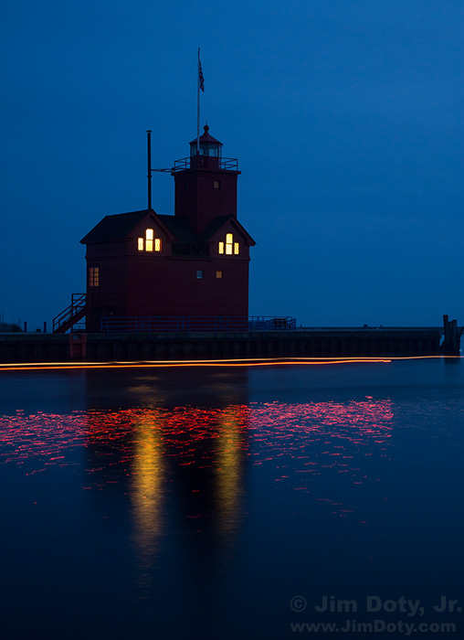 """Big Red"" lighthouse. Evening field trip at Holland State Park. Workshop at Grand Rapids, Michigan."