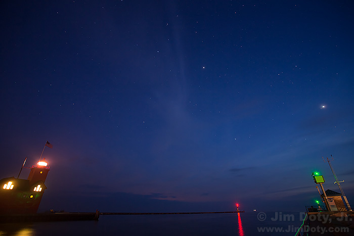 Jupiter and Venus over Big Red lighthouse and Holland State Park, Michigan. May 16, 2015.