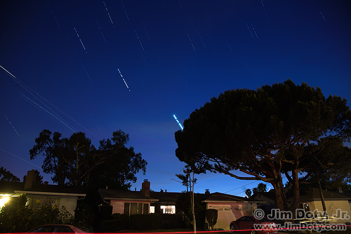 Night sky with airplane lights, Fremont, California