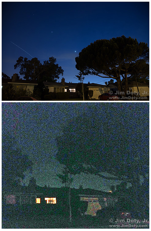 Venus and Jupiter in the night sky over Fremont California.. DSLR (top) vs camera phone.
