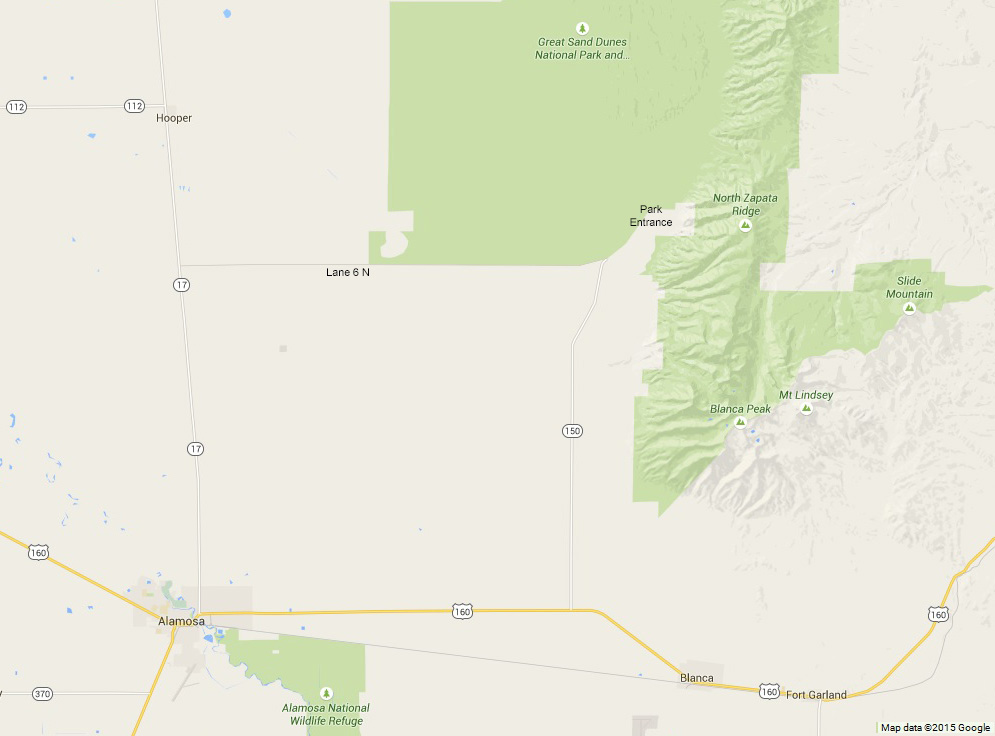 Alamosa Colorado and the Great Sand Dunes. Click to see a larger more readable map.