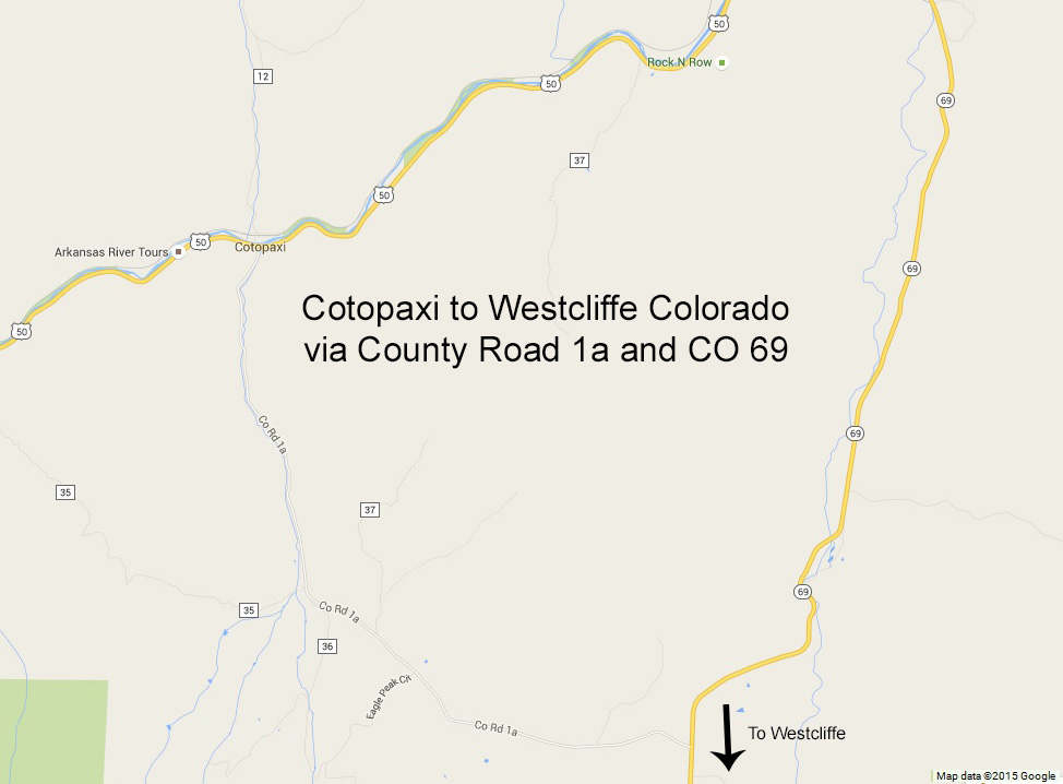 Cotopaxi to Westcliffe, Colorado via County Road 1a and CO 69. Click to see a larger version.